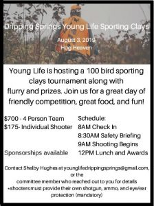 Dripping Springs Young Life Sporting Clays Shoot @ Hog Heaven Sporting Club | Dripping Springs | Texas | United States