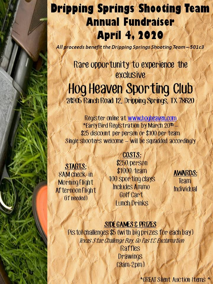 Dripping Springs Shooting Team Fundraiser Shoot @ Hog Heaven Sporting Club | Dripping Springs | Texas | United States